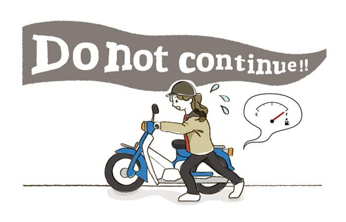 原付バイクを押す女性イラスト