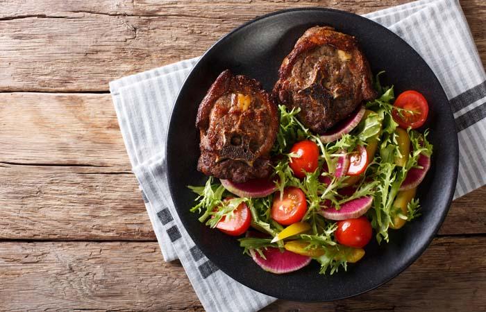肉も野菜もバランスよく食べましょう