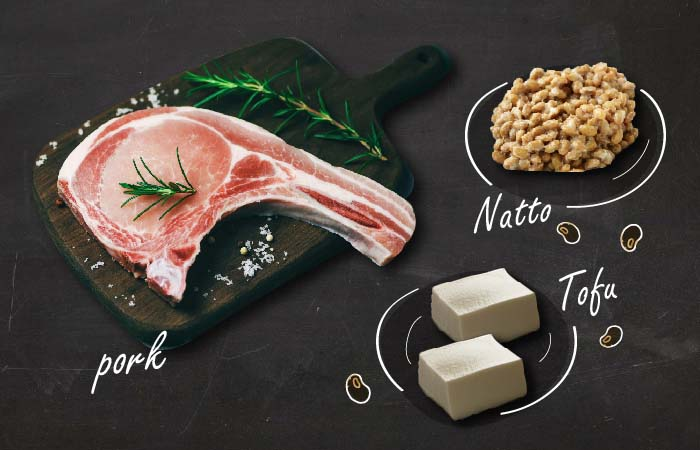 ビタミンB1が豊富な豚肉、大豆食品
