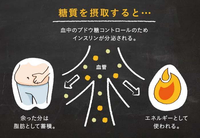 糖質摂取時のインスリン図解