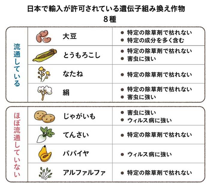輸入許可されている遺伝子組換え食品の一覧